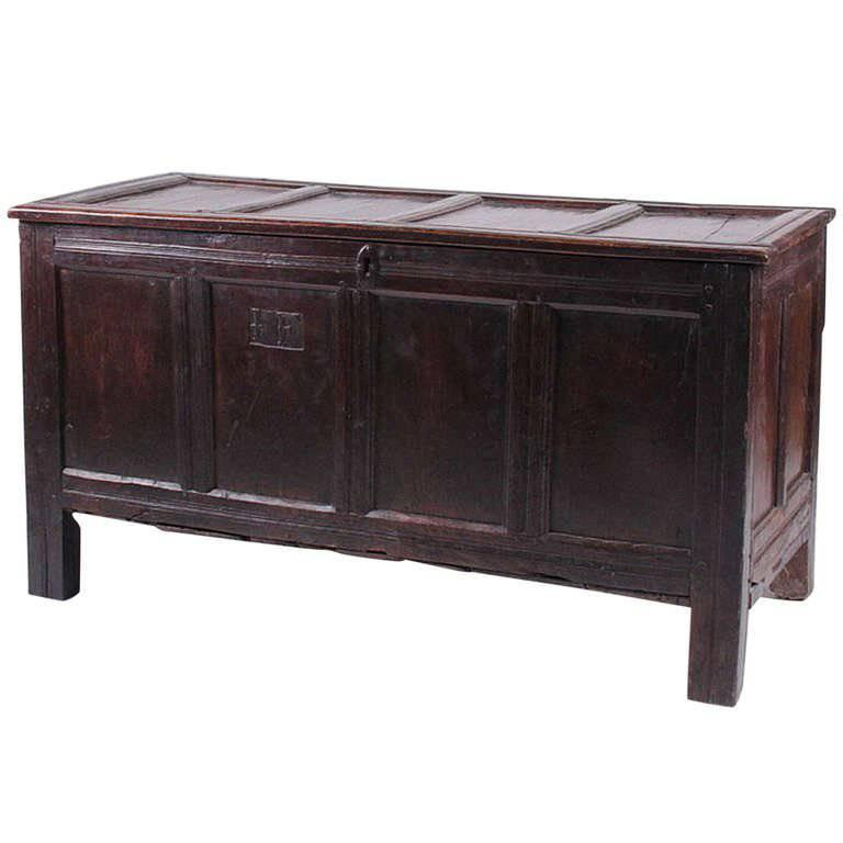 English Oak Chest, 17th-18th Century For Sale