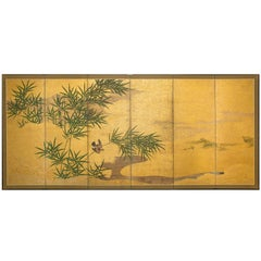 Japanese Six Panel Screen: Bamboo Grove with Bird and Meandering Stream