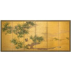 Japanese Six Panel Screen, Bamboo Grove with Bird and Meandering Stream