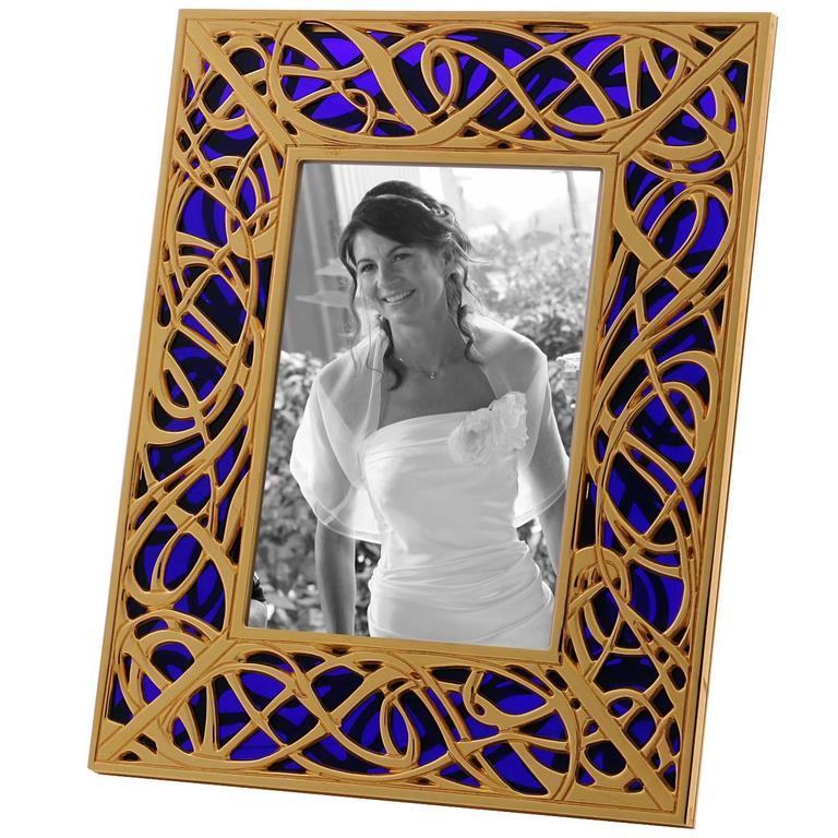 Art Nouveau Gilt Bronze Frame with Blue Murano Glass, Illumination Blue For Sale