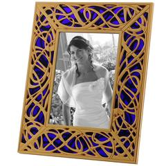 Art Nouveau Gilt Bronze Frame with Blue Murano Glass, Illumination Blue