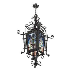 French Stained-Glass Lantern, End 19th Century
