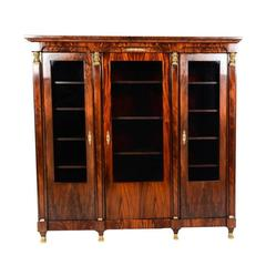 Vintage French Empire-Style Flame Mahogany Bookcase, circa Mid-20th Century