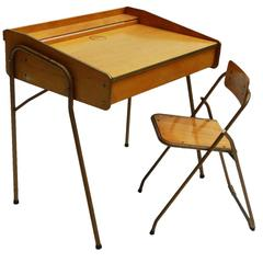 French Mid-Century Childs Desk and Folding Chair by Brevete Lallemand