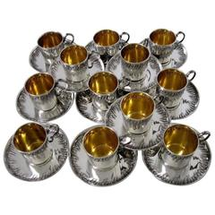 Boulanger Rare French Sterling Silver 18-Karat Gold Twelve Coffee or Tea Cups