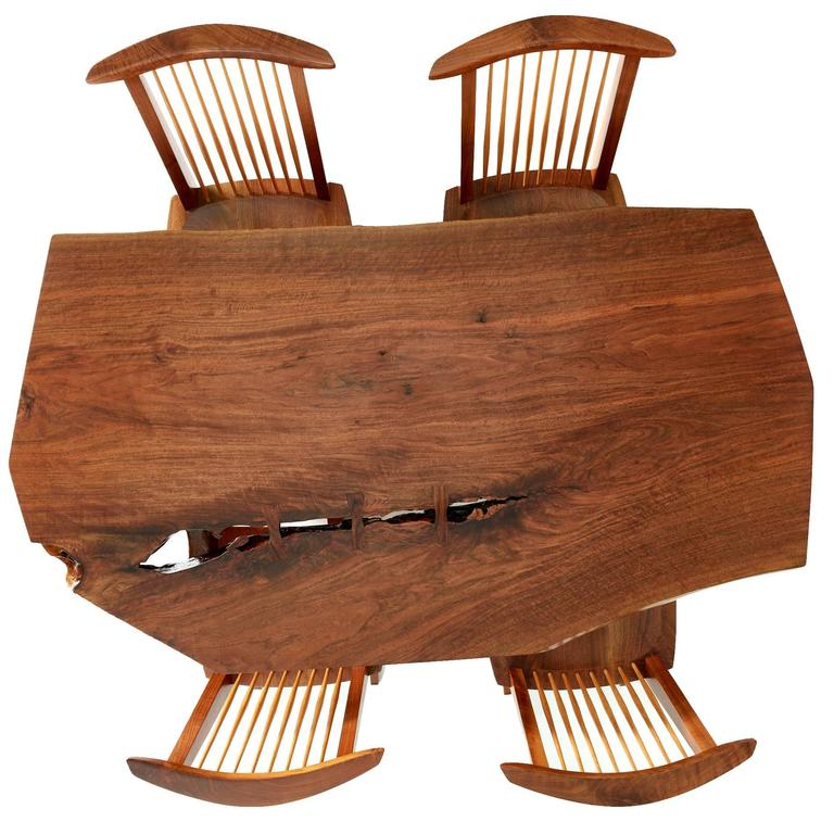 George Nakashima Conoid Dining Set with Single Board Walnut Surface, 1983