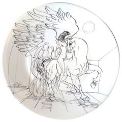 Mid-Century Hand-Painted Porcelain Plate by Priking Limited Edition