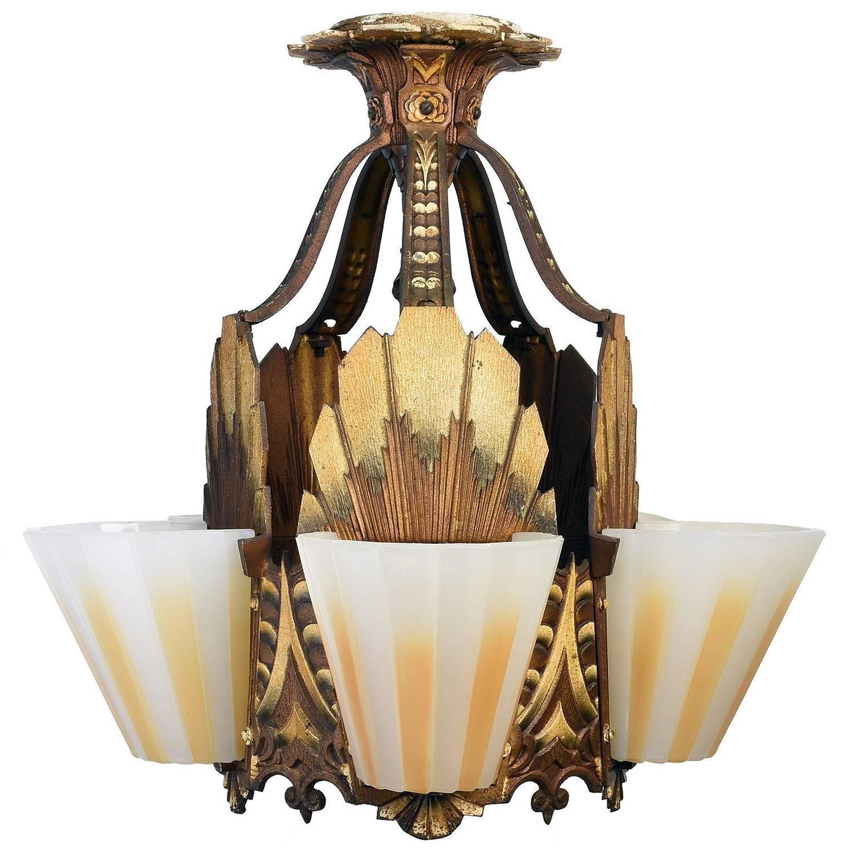 Williamson art deco slipper shade chandelier circa 1928 at 1stdibs arubaitofo Choice Image