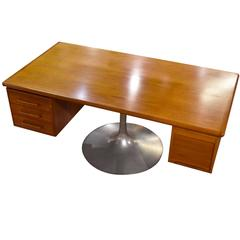 Bespoke Teak Executive Desk on Pedestal Base