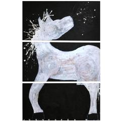 Abstract Triptych Horse by Artist Christopher Shoemaker