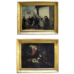 Pair of 19th Century Italian Genre Paintings Banquets and Violin Player Signed