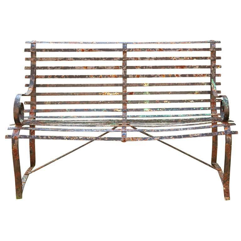 Charming English Wrought Iron Strap Bench