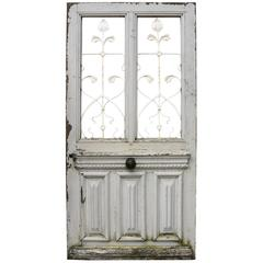 19th Century French Oak Front Door with Iron Grills