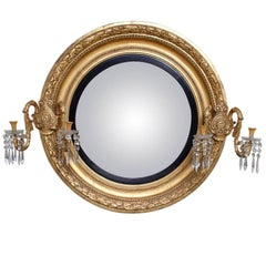 Early 19th Century Monumental Regency Giltwood Convex Mirror