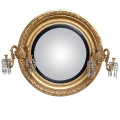 Magnificent Large Antique Regency Giltwood Convex Mirror