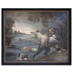 Large French 19th Century Painting of Dogs and Ducks in a Period Frame