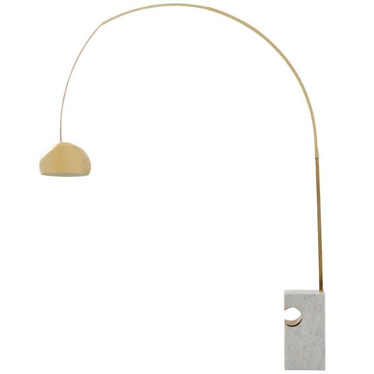 vintage brass arc floor lamp for sale at 1stdibs. Black Bedroom Furniture Sets. Home Design Ideas