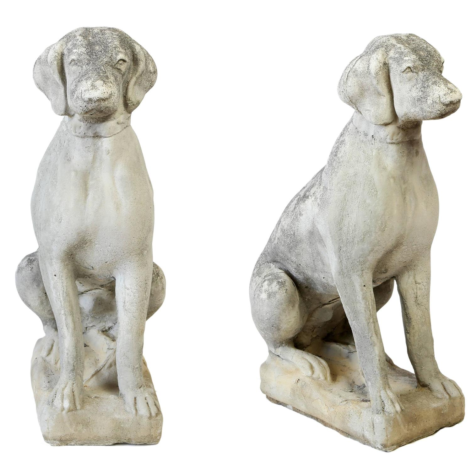 pair of cast concrete seated dog statues for sale at 1stdibs steel dog house price