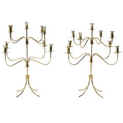 Pair of Danish Modern Brass Candelabras Attributed to Hans Bergstrom