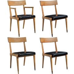 Leather and Wood Modern Side Chairs, circa 1940