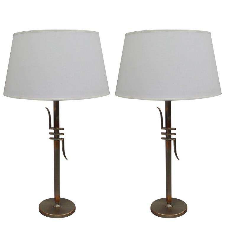 Pair of Mid-Century Modern Table Lamps Attributed to James Mont