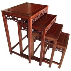 Nest of 19th Century Paduk Chinese Tables