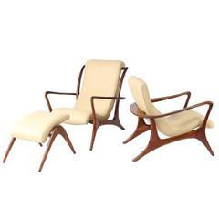 """Vladimir Kagan """"Contour"""" Lounge Chairs and Ottoman"""