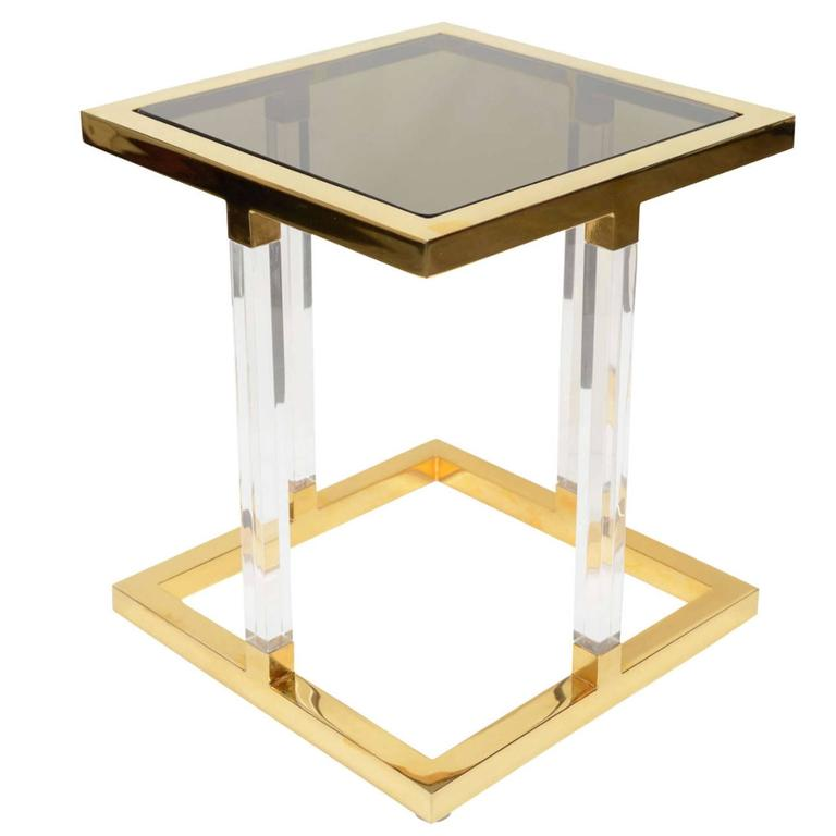 1970s Charles Hollis Jones Brass and Lucite Side Table