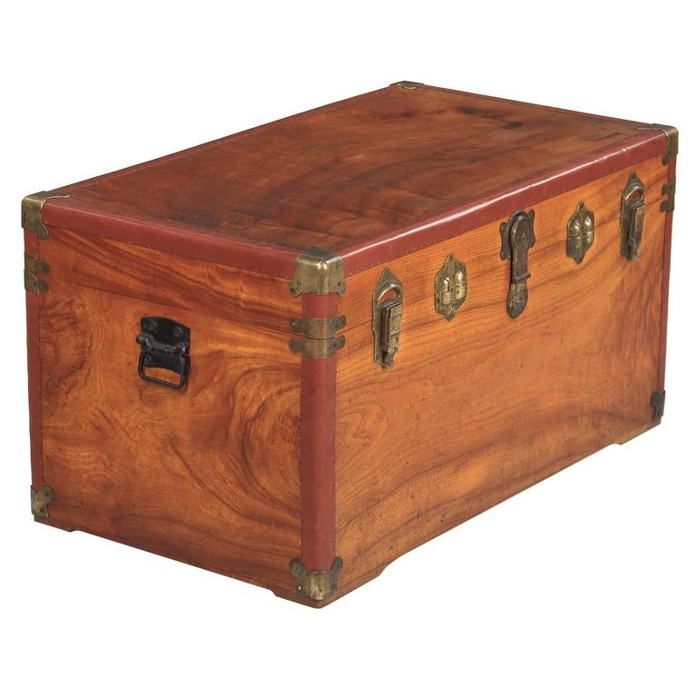 Camphor Wooden Trunk with Red Trim, Germany, 1920s 1