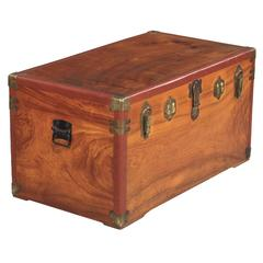 Camphor Wooden Trunk with Red Trim, Germany, 1920s