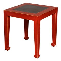 Art Deco Red Lacquered Chinese Table with Ming Dynasty Courtyard Stone Inset