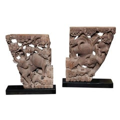 Pair of Mid-19th Century Carved Temple Corbels with Animals and their Young