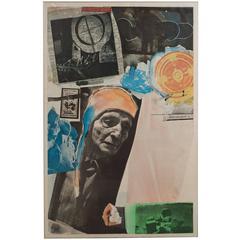 Robert Rauschenberg Lithograph Homage to Kiesler Print, 1967
