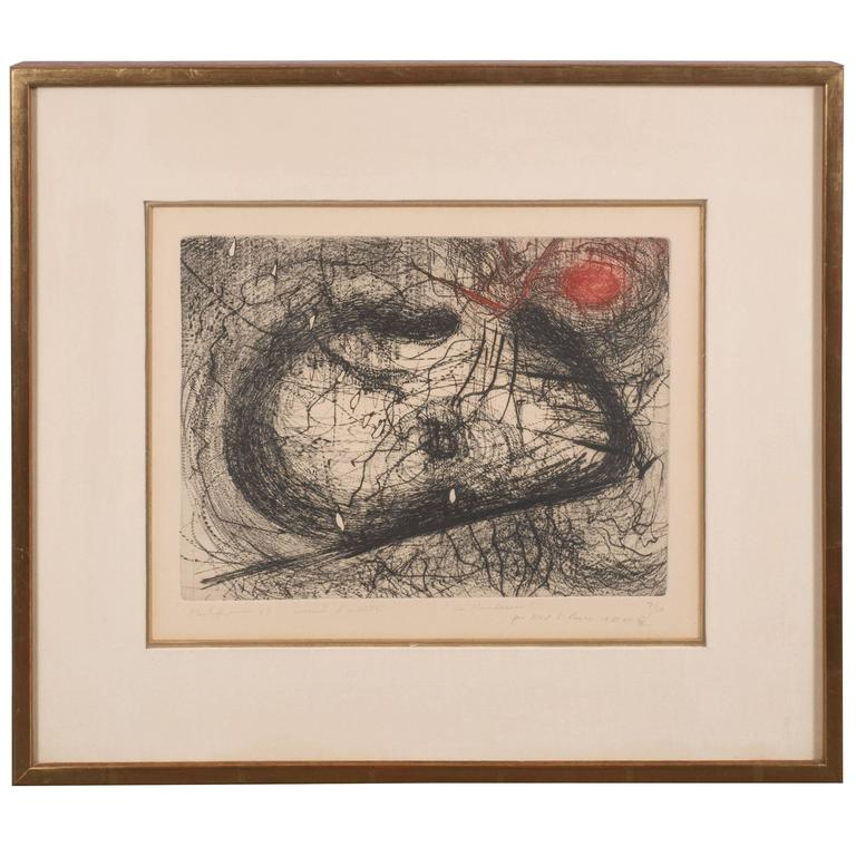 "Modern Abstract Expressionist Print, ""Le Mandarin"" Scribbles in Black and Red For Sale"