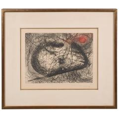 """Modern Abstract Expressionist Print, """"Le Mandarin"""" Scribbles in Black and Red"""
