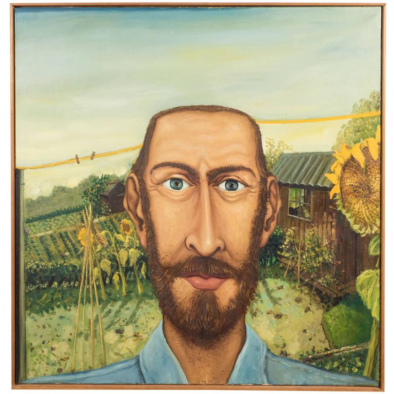The Sun Flower Portrait English Anthony Green, Oil on Canvas, Realized in 1974 For Sale