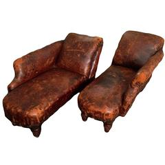 Pair of Miniature Leather Méridienne Chaise Lounge Chairs