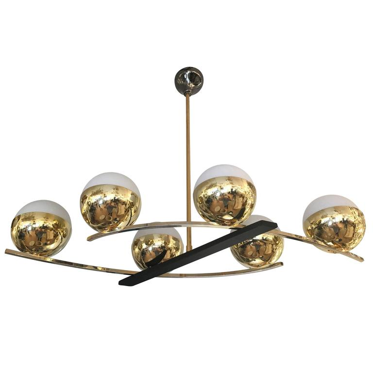 Elegant French Mid-Century Chandelier with Six Globes For ...