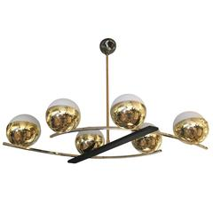 Elegant French Mid-Century Chandelier with Six Globes