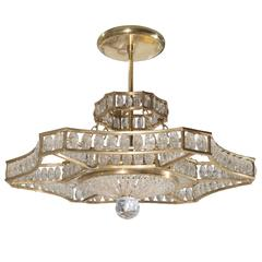 Bronze and Crystal Chandelier in the Style of Bagues, French, circa 1950s
