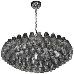 Handblown Murano Glass Polyhedral Chandelier in the Manner of Venini
