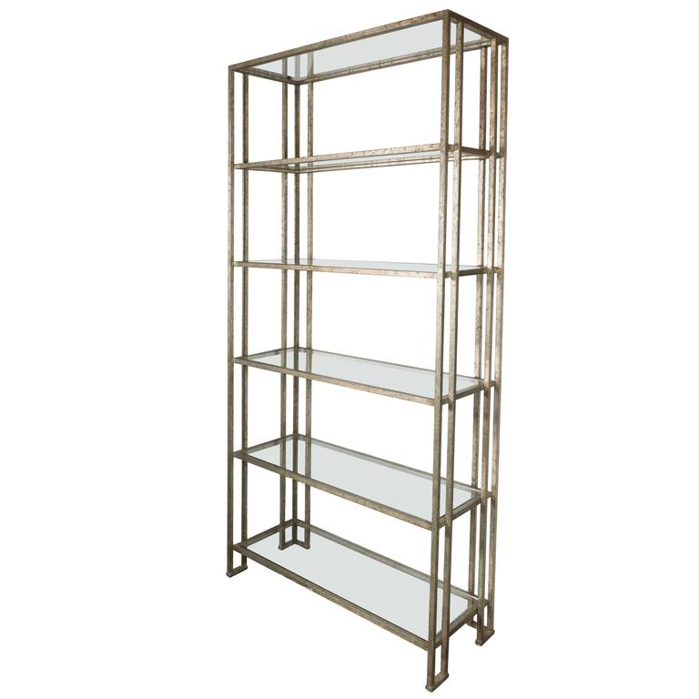 impressive industrialist patinated brass and glass etagere american circa 1970 for sale at 1stdibs. Black Bedroom Furniture Sets. Home Design Ideas