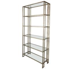 Impressive Industrialist Patinated Brass and Glass Etagere, American, circa 1970