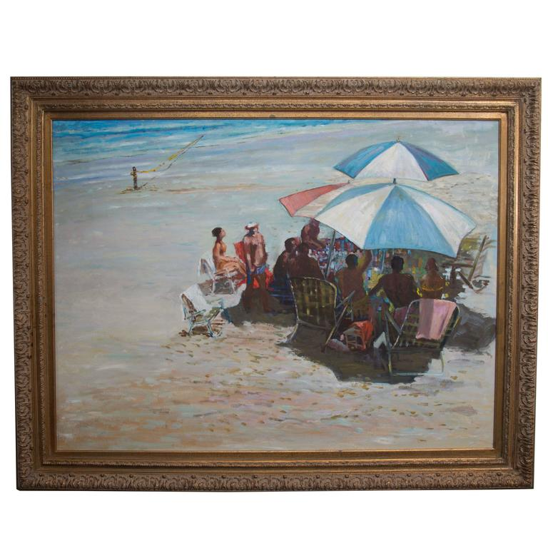 20th Century Oil on Canvas of Beach Scene