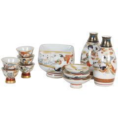 Antique Japanese Erotic Porcelain Sake Set, circa 1890
