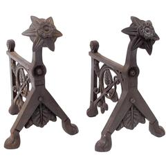 Pair of Arts and Crafts Cast Iron Fire Dogs Attributed to Dr C Dresser