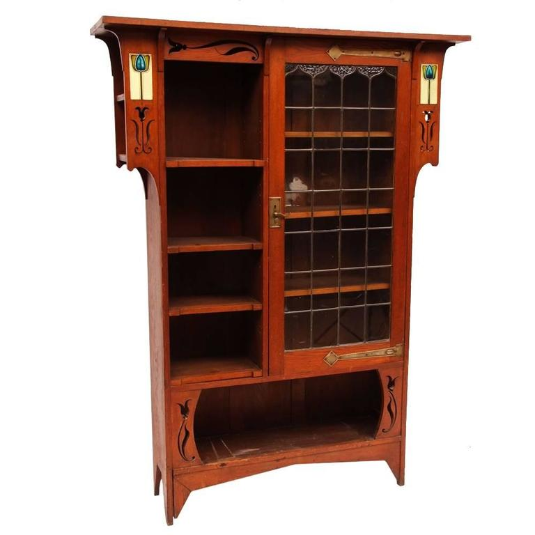 Arts and crafts oak glazed bookcase with inset period for Arts and crafts bookshelf