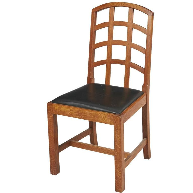 Ambrose Heal Arts And Crafts Oak Lattice Back Desk Chair Made By Heals For  Sale