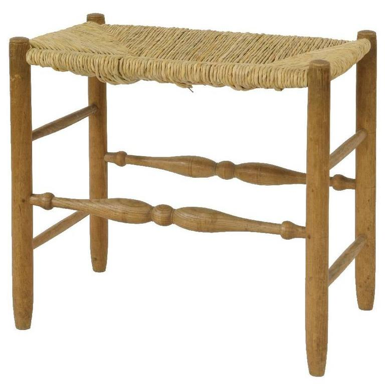 Excellent Little Arts and Crafts Rush Seat Stool by G Russell