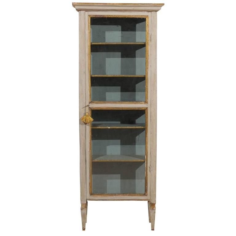 Tall Italian Display Cabinet With Original Grey Color, Gilded Accent